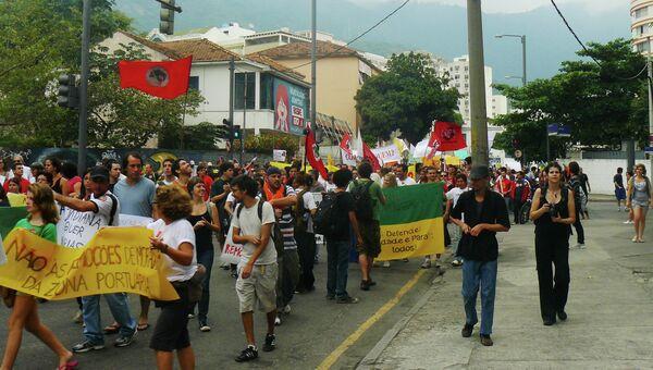Акция протеста у стадиона Маракана