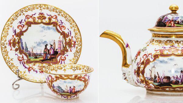 Чайно-кофейный сервиз с китайскими сценами в гавани Мейсен