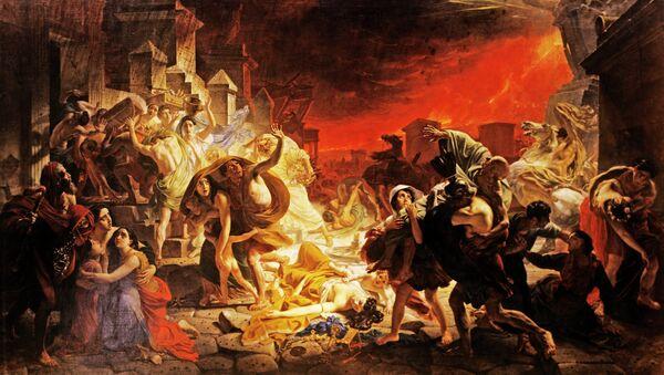 Репродукция картины К. Брюллова Последний день Помпеи. Архивное фото