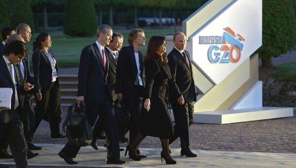 В.Путин прибыл на ужин с лидерами G20 в Петергоф