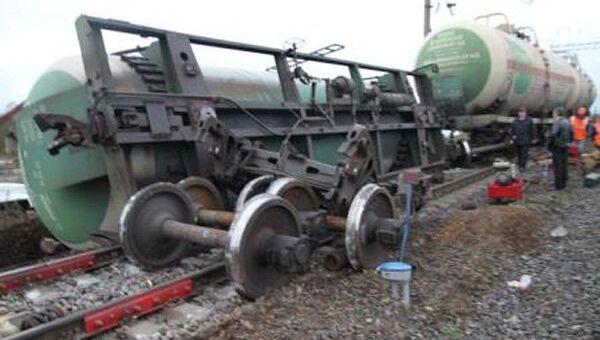 Сход с рельсов цистерн с пропаном в городе Буе Костромской области, фото с места события