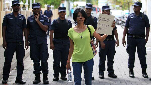 Акция протеста в столице Мальдив. Фото с места события