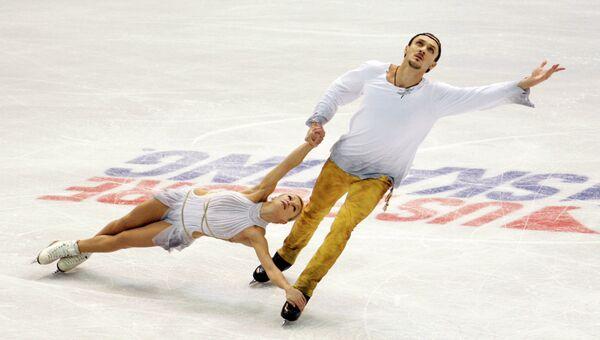 Во время выступления Татьяны Волосожар и Максима Транькова на соревнованиях Скейт Америка