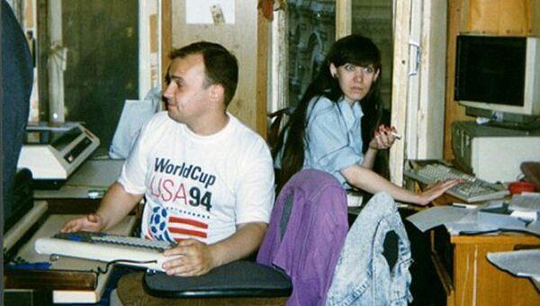 Владимир Варфоломеев и Татьяна Пелипейко в редакции Эха Москвы. 90-е годы.