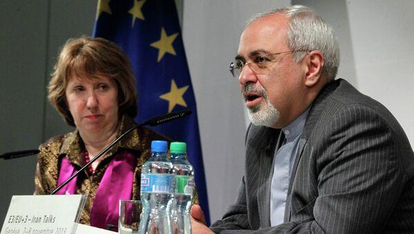 Высокий представитель ЕС по иностранным делам Кэтрин Эштон и министр иностранных дел Ирана Мохаммад Джавад Зариф в Женеве. Фото с места событий