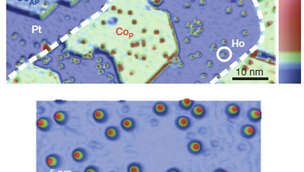 Микрофотография клетки из платины и заключенные в ней атомы гольмия