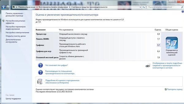 Индекс производительности Windows для для нового NUC'а (DC53427HYE)