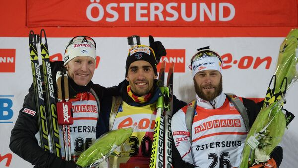 Симон Эдер (Австрия) - второе место, Мартен Фуркад (Франция) - первое место, Даниэль Мезотич (Австрия) - третье место