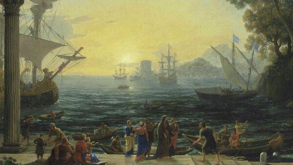 Клод Лоррен Средиземноморский порт на восходе солнца и погрузка святой Паулы на корабль перед отплытием в Иерусалим (1650)