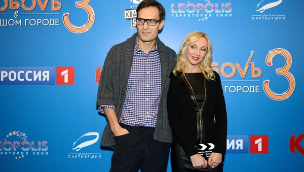 Певица Кристина Орбакайте с мужем Михаилом Земцовым перед премьерой фильма Любовь в большом городе 3