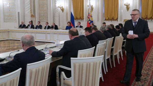 Лидер ЛДПР Владимир Жириновский на совместном заседании Государственного совета РФ и Комиссии при президенте РФ