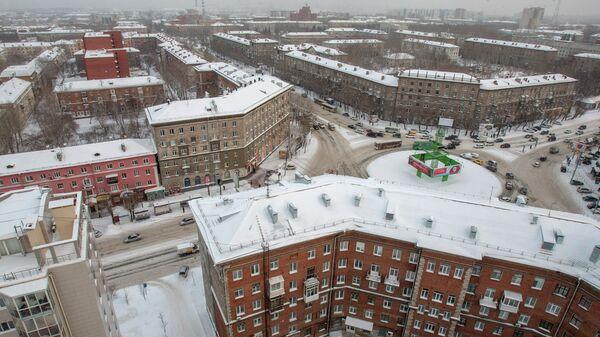 Ленинский район Новосибирска зимой