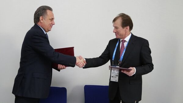 Рабочая встреча министра спорта РФ Виталия Мутко и министра молодёжи и спорта Украины Равиля Сафиуллин