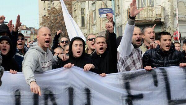 Участники акции протеста в Пловдиве, Болгария. Фото с места событий