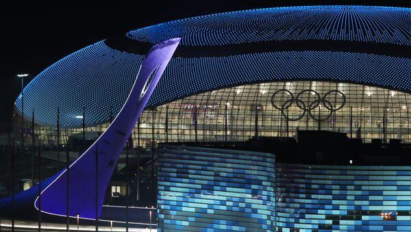 Вид на чашу Олимпийского огня, ледовый дворец Большой и дворец зимнего спорта Айсберг во время церемонии закрытия XXII зимних Олимпийских игр в Сочи.