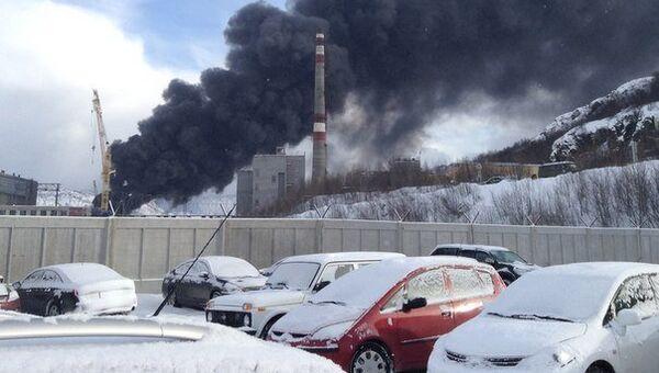 Пожар на судоремонтном заводе Нерпа в Мурманской области