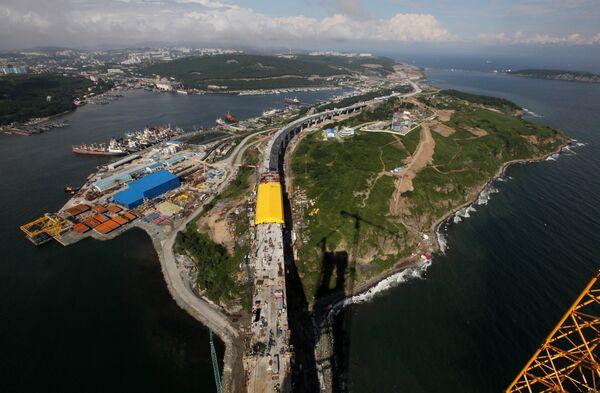 Строительство моста на остров Русский в рамках подготовки к саммиту АТЭС 2012