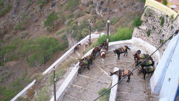 Лестница на греческом острове Санторини