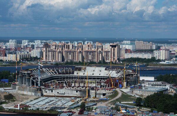 Строящийся футбольный стадион Зенит-Арена