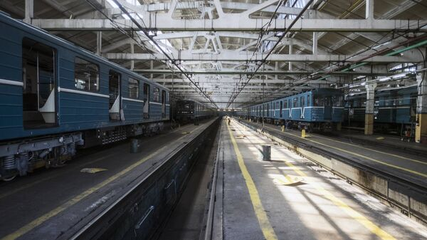 Поезда московского метрополитена в электродепо