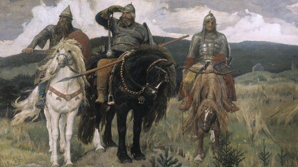 Репродукция картины В. М. Васнецова Три богатыря