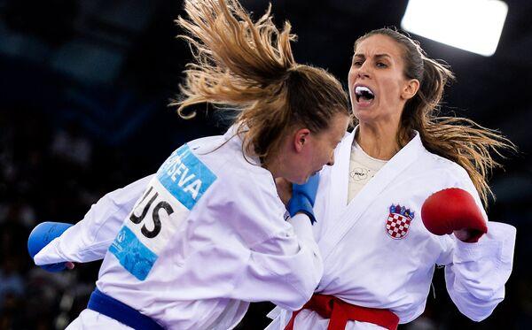 Соревнования по карате среди женщин в весовой категории свыше 68кг на I Европейских играх в Баку