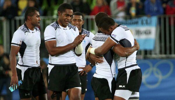 Регбисты сборной Фиджи