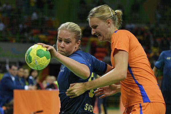 Игровой момент матча Швеция - Нидерланды