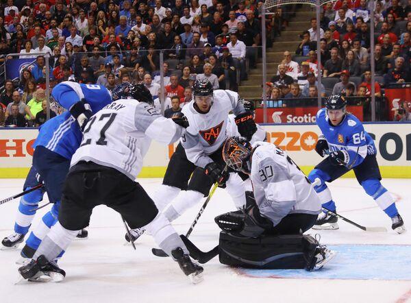 Игровой момент матча Северная Америка - Финляндия
