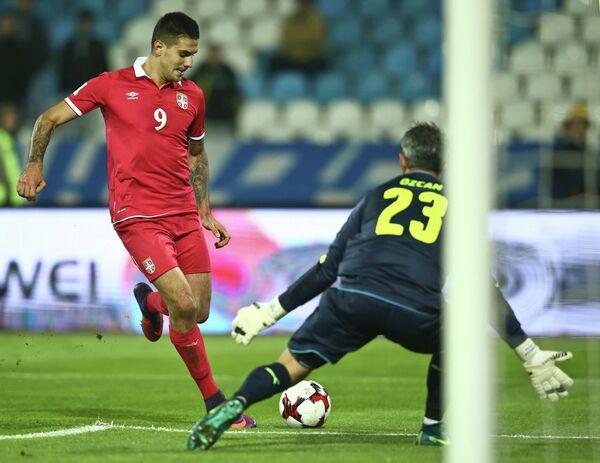 Игровой момент матча Сербия - Австрия