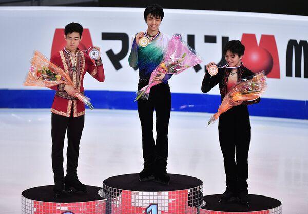 Натан Чен, Юдзуру Ханю, Сома Уно (слева направо)