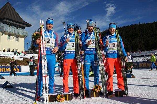 Матвей Елисеев, Антон Бабиков, Антон Шипулин, Максим Цветков (слева направо)