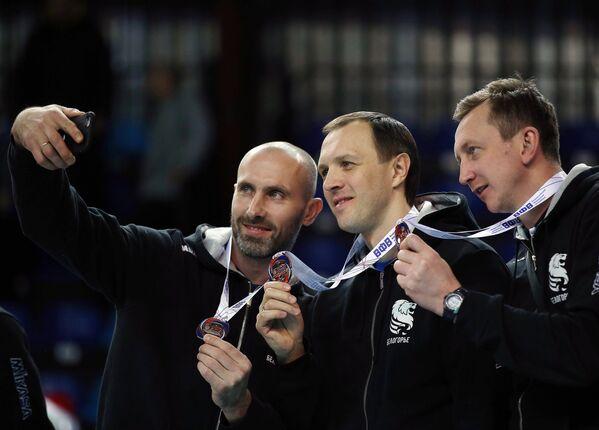 Игроки ВК Белогорье Сергей Тетюхин, Александр Косарев, Александр Богомолов (слева направо)