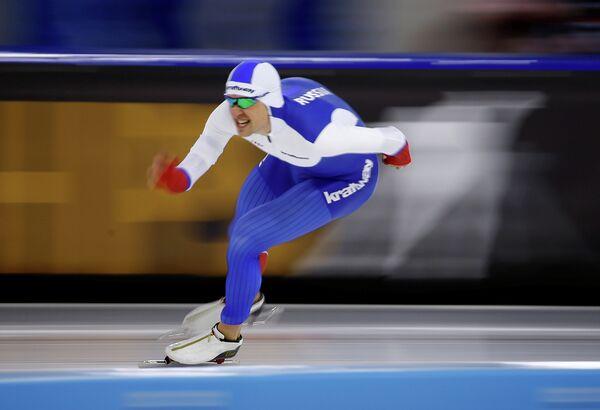 Денис Юсков на дистанции 1500 метров во время ЧЕ-2017 в многоборье