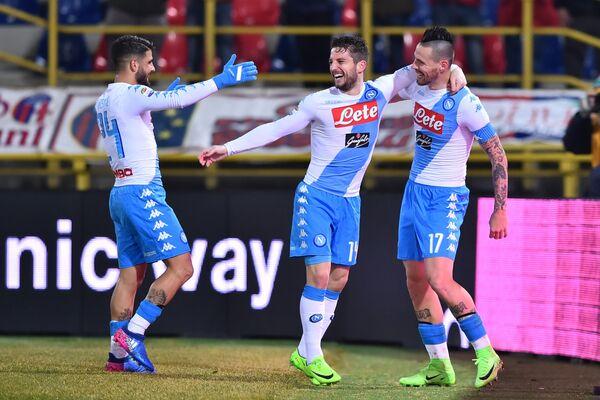 Футболисты Наполи Лоренцо Инсинье, Дрис Мертенс и Марек Гамшик (слева направо)