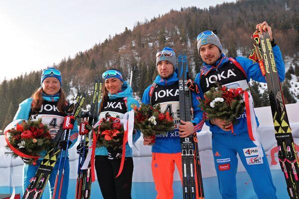 Россияне Ольга Подчуфарова, Татьяна Акимова, Александр Логинов , Антон Шипулин (слева направо)