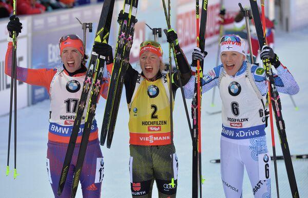 Сюзан Данкли (США), Лаура Дальмайер (Германия) и Кайса Мякяряйнен (Финляндия) (слева направо)