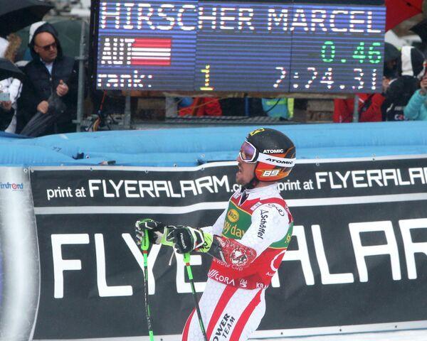 Австрийский горнолыжник Марсель Хиршер после победы в гигантском слаломе на этапе Кубка мира в Краньска-Горе (Словения)