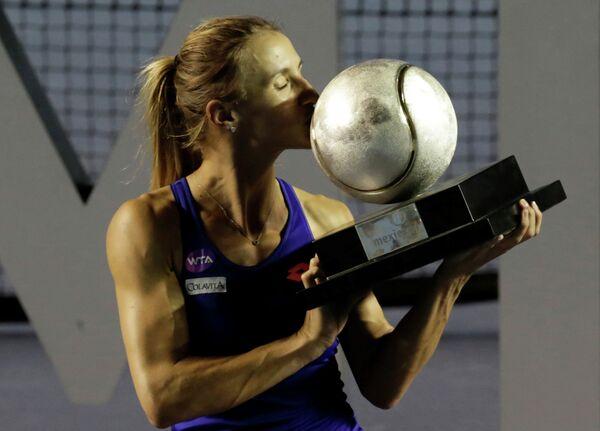 Украинская теннисистка Леся Цуренко после победы на турнире в Акапулько