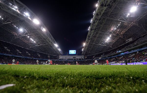 Игровой момент товарищеского матча между сборными России и Бельгии на стадионе Фишт