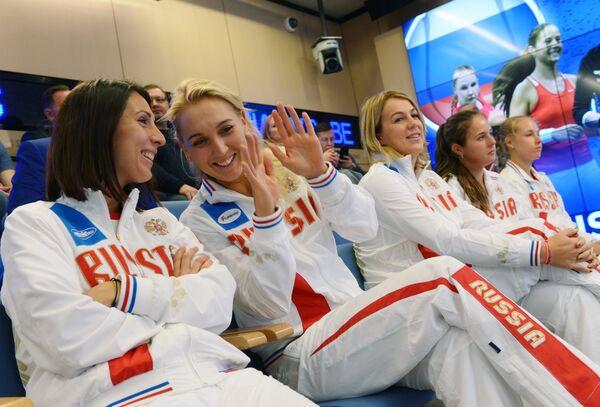 Теннисистки сборной России на жеребьевке матча Кубка федераций