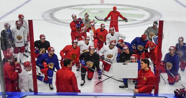Хоккей. Чемпионат мира. Тренировка сборной России