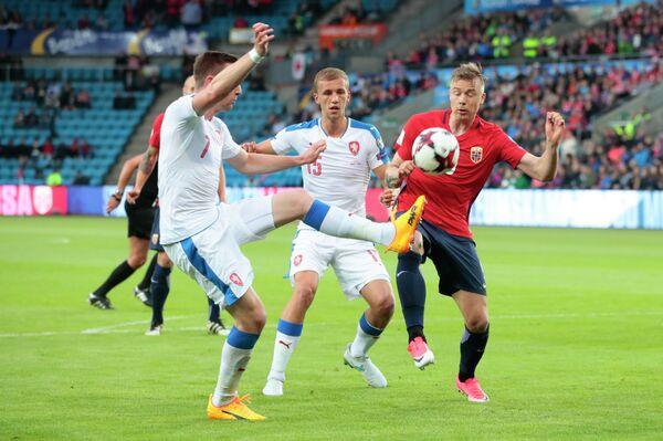 Игровой момент матча Норвегия - Чехия