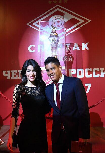 Нападающий Спартака Лоренсо Мельгарехо с супругой Марией