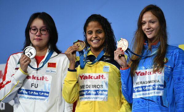Фу Юаньхуэй, Этьен Медейрос, Александра Герасименя (слева направо)