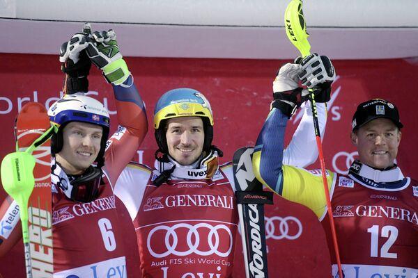 Норвежец Хенрик Кристофферсен, немец Феликс Нойройтер и швед Маттиас Харгин (слева направо)