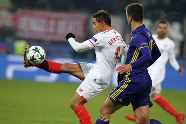 Игровой момент матча Лиги чемпионов Марибор - Севилья
