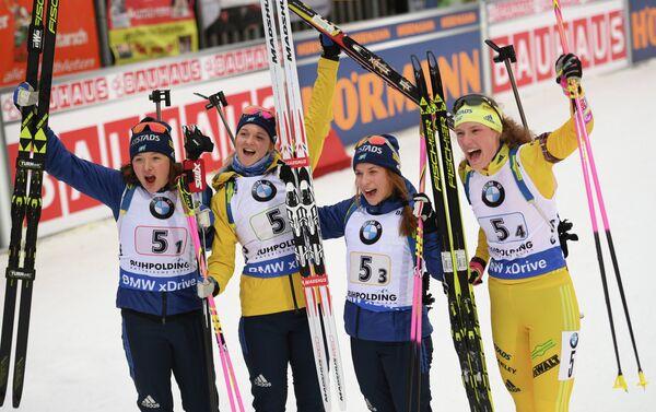 Биатлонистки сборной Швеции Линн Перссон, Мона Брорссон, Анна Магнуссон и Ханна Эберг (слева направо)
