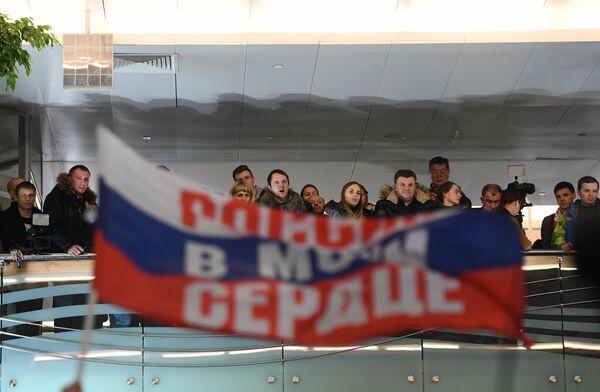 Участники встречи российских спортсменов - участников Олимпиады 2018 в аэропорту Шереметьево