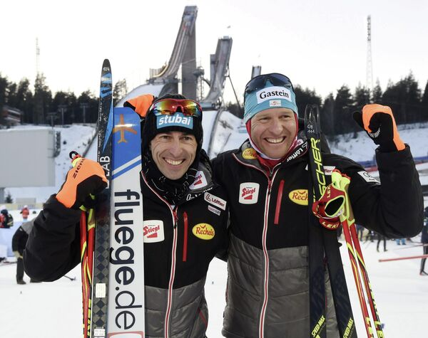 Австрийские двоеборцы Вильгельм Денифль и Бернард Грубер (слева направо)